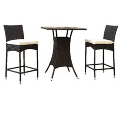Delray 3 Piece Bar Height Dining Set with Cushions