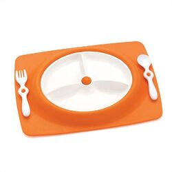 Mate Stay-Put Place Mat and Plate in Orange
