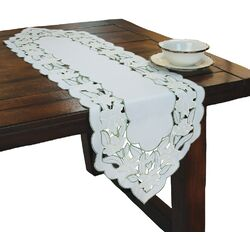 Magnolia Embroidered Cutwork Table Runner