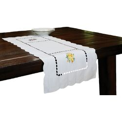 Bouquet Embroidered Cutwork Table Runner