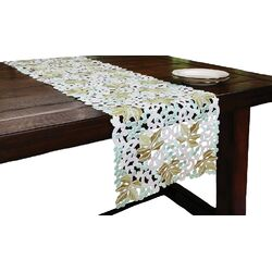 Vineyard Embroidered Cutwork Table Runner
