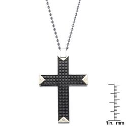 Stainless Steel Textured Cross Pendant