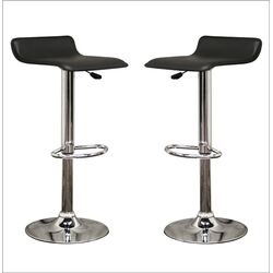 Baxton Studio Vita Faux Leather Barstool in Black (Set of 2)