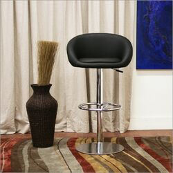 Baxton Studio Wynn Faux Leather Barstool in Black (Set of 2)