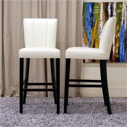 Baxton Studio Janvier Modern Leather Bar Stool in Off-White