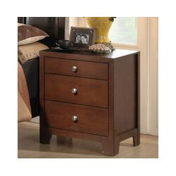 Baxton Studio Butler 3 Drawer Nightstand