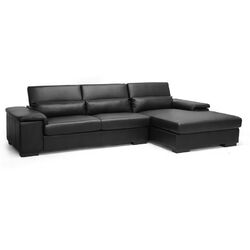 Baxton Studio Dolan Leather Sectional & Right Facing Chaise