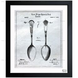 Design for Spoon and Fork Handles 1870 Framed Painting Print