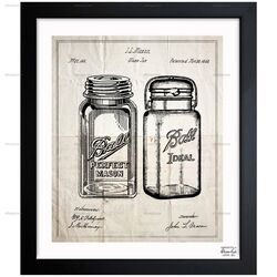 Mason Jar - Adapted 1853 Framed Painting Print