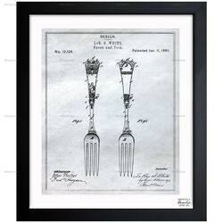 Design for Spoons and Forks 1881 Framed Painting Print
