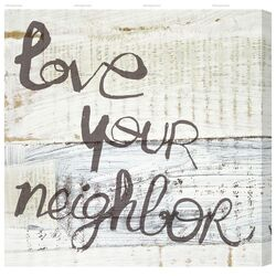 Love Your Neighbor Textual Art on Canvas