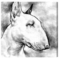 Hatcher and Ethan 'Bull Terrier' Painting Print on Canvas