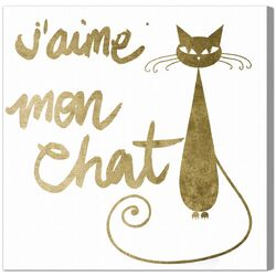 'Mon Chat' Graphic Art on Canvas