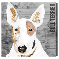 'Love My Bull Terrier' Graphic Art on Canvas