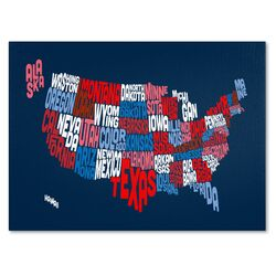 'USA States Text Map 2' by Michael Tompsett Graphic Art on Canvas