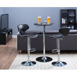 Oxbow Estate Airlift Adjustable Height Bar Stool in Black (Set of 2)