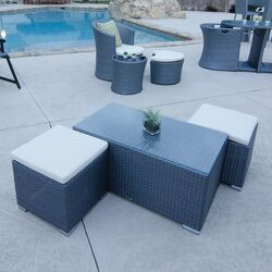 Hollywood Synthetic Rattan Outdoor Coffee Table with Two Additional Ottomans