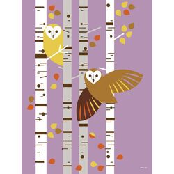 Forest Owl Birch by Eleanor Grosch Painting Print on Canvas