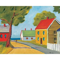 Road Through Town by Robert Kennedy Painting Print on Canvas