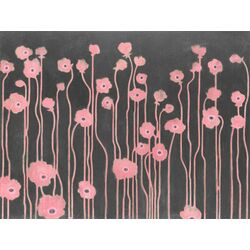 Poppies by Sally Bennett Painting Print on Canvas in Pink and Gray