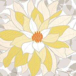White Dahlia by Molly Bernarding Painting Print on Canvas
