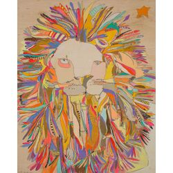 Lion Star by Jennifer Mercede Painitng Prink on Canvas