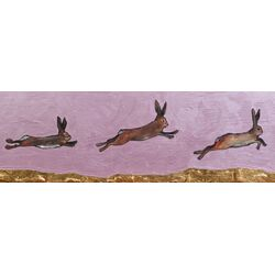Brown Bunnies Jumping Over Gold Mountain by Eli Halpin Painting Print on Canvas