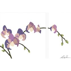 Purple Orchid Arrangement Series by Andy Anh Ha 2 Piece Painting Print on Canvas Set ...