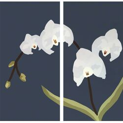 White Orchid by Andy Anh Ha 2 Piece Painting Print on Canvas Set in Gray ...
