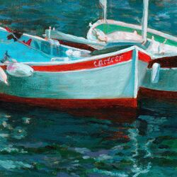 Boats in Cassis II by Petite Malou Painting Print on Canvas