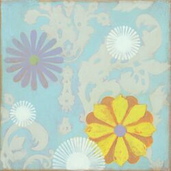 Purple and Yellow Flower by Sally Bennett Painting Print on Canvas in Blue
