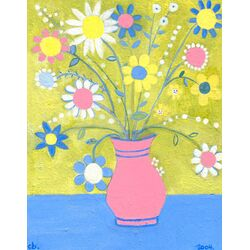 Happy Flowers by Caroline Blum Painiting Prink on Canvas