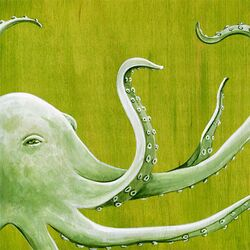 Green Octopus by Karin Grow Painting Print on Canvas