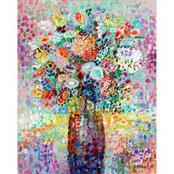 Floral Bouquet by Angelo Franco Painting Print on Canvas in Lavender