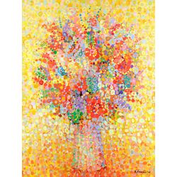 Floral Bouquet by Angelo Franco Painting Print on Canvas in Yellow