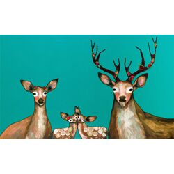 Flower Deer Family by Eli Halpin Painting Print on Canvas