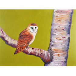 The Barn Owl's Birch Tree by Kate Halpin Painting Print on Canvas