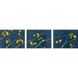 Gold Ginkgo Leaves by Kate Halpin 3 Piece Painting Print on Canvas Set