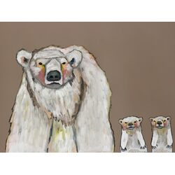 Polar Bear Cubs by Eli Halpin Painting Print on Canvas