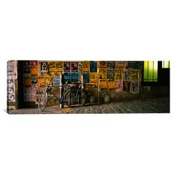 Panoramic Bicycle Leaning against a Wall with Posters in an Alley, Post Alley, Seattle, ...