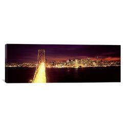 Panoramic Bridge Lit Up at Night, Bay Bridge, San Francisco Bay, California Photographic Print ...