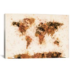 'Bronze Paint Splash World Map' by Michael Thompsett Graphic Art on Canvas
