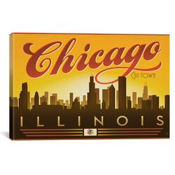 'Chi-Town - Chicago, Illinois' by Anderson Design Group Vintage Advertisement on Canvas