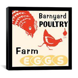 Barnyard Poultry-Farm Eggs Advertising Vintage Poster