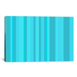 Striped Aqua Torquise Cyan Graphic Art on Canvas