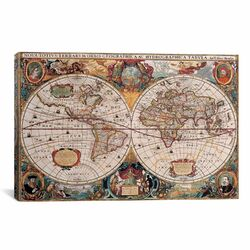 'Antique World Map' by Henricus Hondius Graphic Art on Canvas