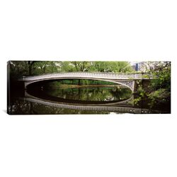 Panoramic Arch Bridge across a Lake, Central Park, Manhattan, New York City, New York State ...