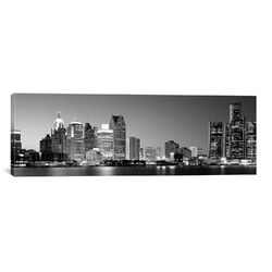 Panoramic City at the Waterfront, Lake Erie, Detroit, Michigan Photographic Print on Canvas