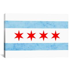 Chicago Flag, Small Grunge Graphic Art on Canvas