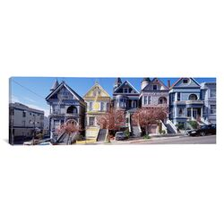 Panoramic Cars Parked In front of Victorian Houses, San Francisco Photographic Print on Canvas